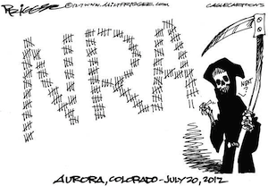 NRA juxtaposed to the Grim Reaper