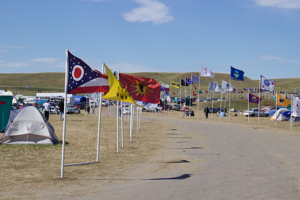Oceti Sakowin flags of represented nations (Photo: Nadya Tannous)
